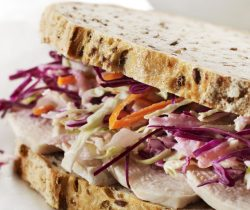 Healthy chicken coleslaw sandwich