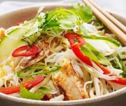 Healthy crab salad with noodles