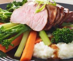 Healthy hoisin pork with cauliflower mash